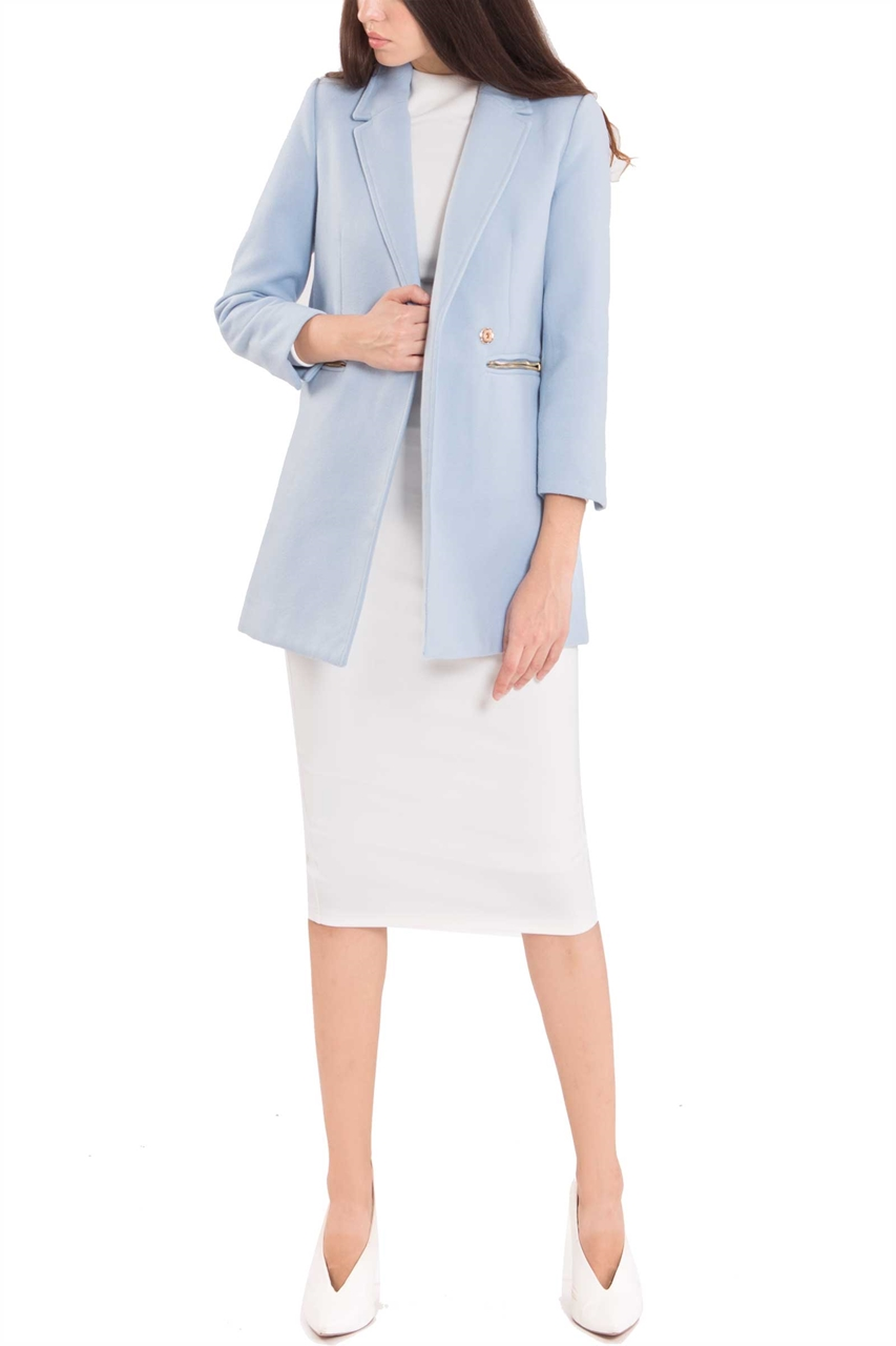 select for newest clear-cut texture later Dofriaz Coat (Powder Blue)