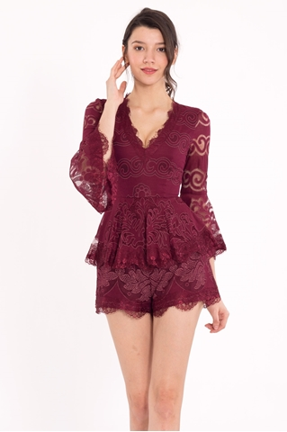 Show details for Daxverst Romper (Maroon)