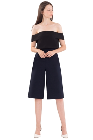 Picture of Decheveron Jumpsuit Cullotes (Black+Navy)