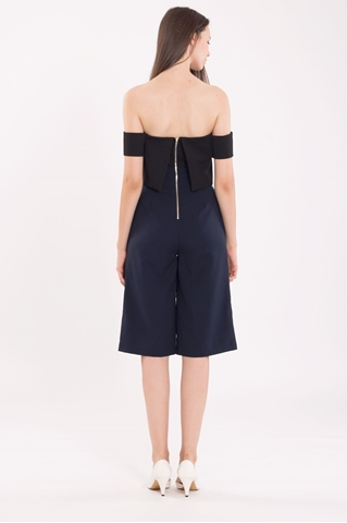 Show details for Decheveron Jumpsuit Cullotes (Black+Navy)