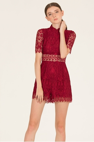 Show details for Daxiaolian Romper (Maroon)