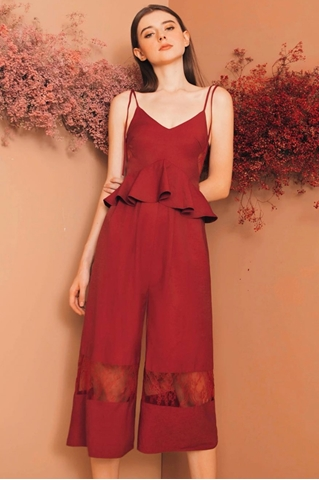 Show details for Daritahern Jumpsuit Cullotes (Maroon)