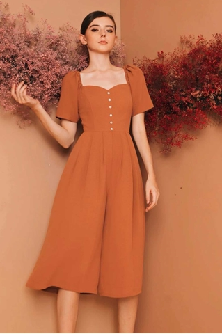 Show details for Dabefuy Jumpsuit Cullotes (Brown)